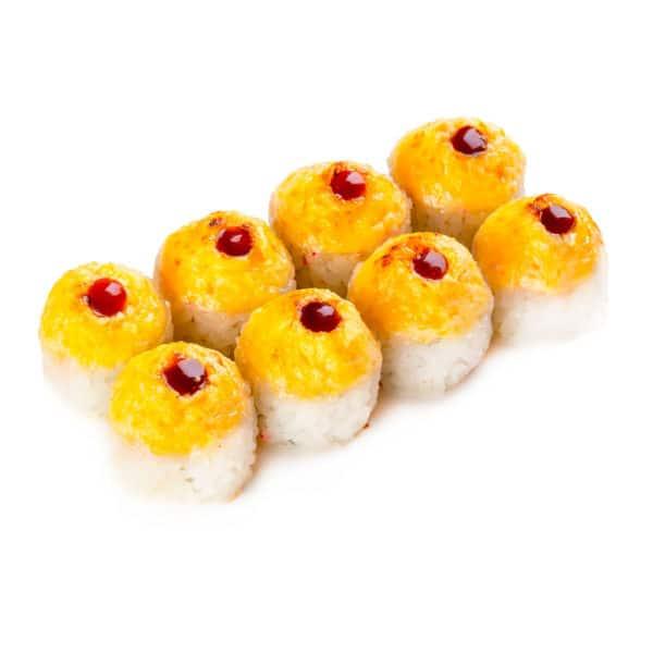 """Ролл """"Китаяма"""". Запеченный ролл. Угорь, лосось, сливочный сыр, огурец, рис, нори, соус терияки, соус спайси сладкий, соус гриль."""