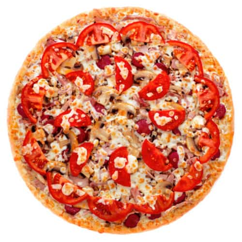 "Мясная пицца с охотничьими колбасками, грибами и томатами ""Монтана"""