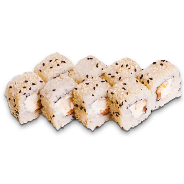 """Ролл """"Мураками"""". Сложный ролл. Сливочный сыр, жареный окунь, лосось, кунжут, рис, нори."""