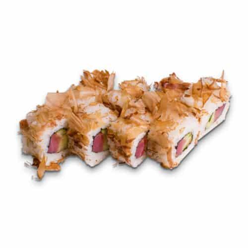 """Ролл """"Токасики"""". Сложный ролл. Филе тунца, сыр сливочный, стружка тунца, огурец, соус спайси острый, рис, нори."""