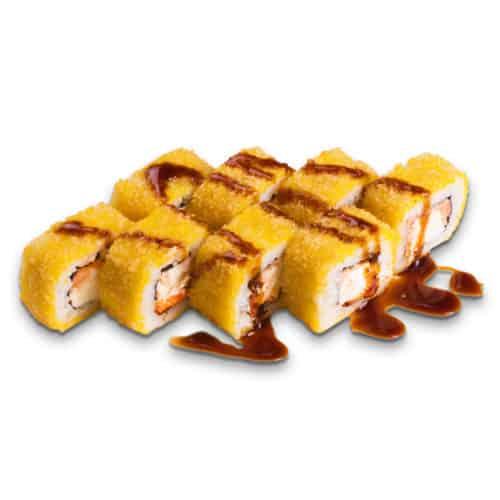 """Ролл """"Юки"""".Горячий ролл. Сливочный сыр, лосось, икра тобико, соус унаги, рис, нори, кляр, сухари """"Панко""""."""